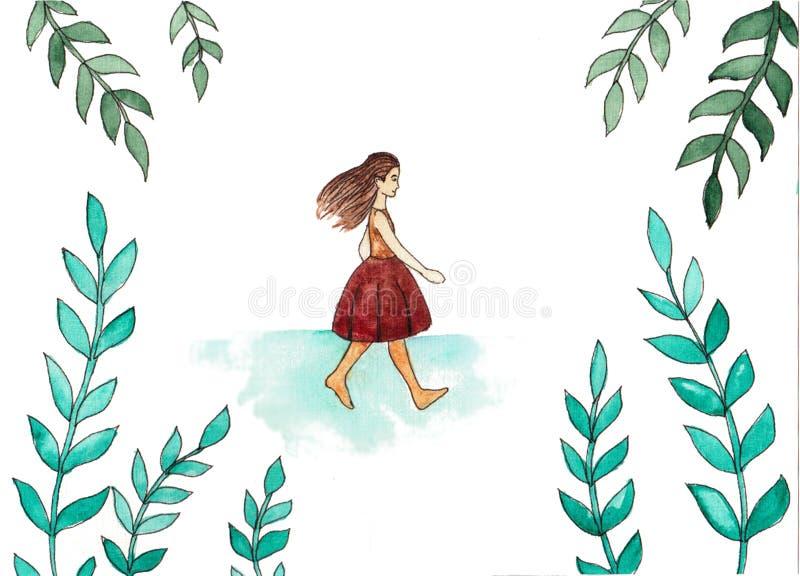 Muchacha de las acuarelas de las historietas en el fondo de la naturaleza, ejemplo de libro libre illustration