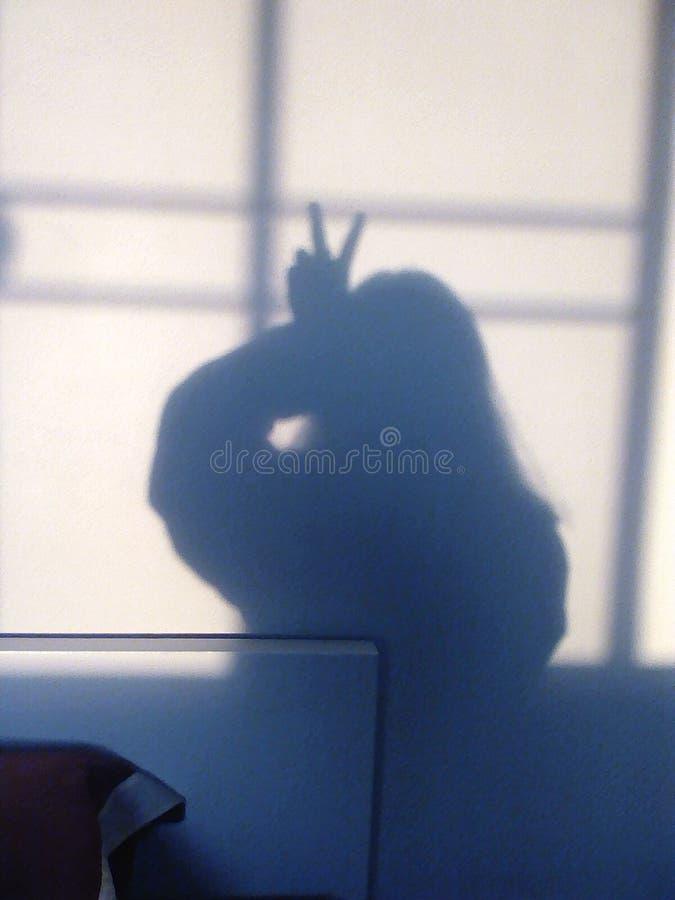 Muchacha de las sombras que lucha fotos de archivo