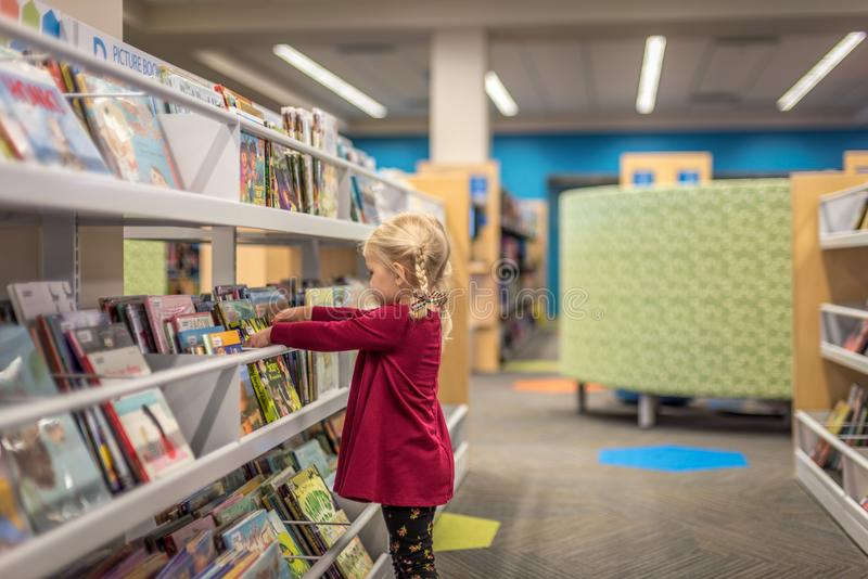 Muchacha de Llittle que elige los libros en la biblioteca foto de archivo libre de regalías