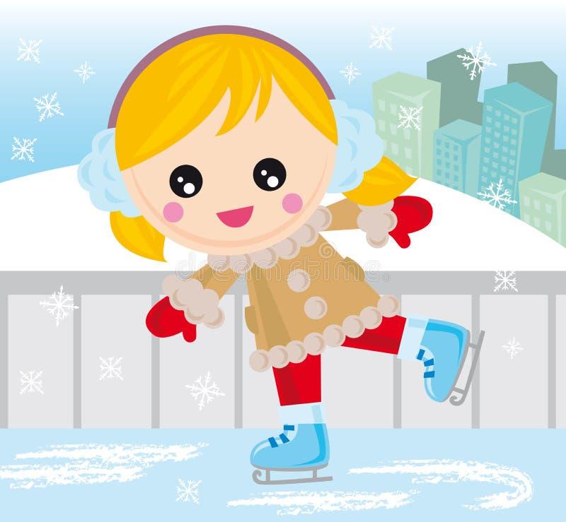 Muchacha de los patines de hielo stock de ilustración