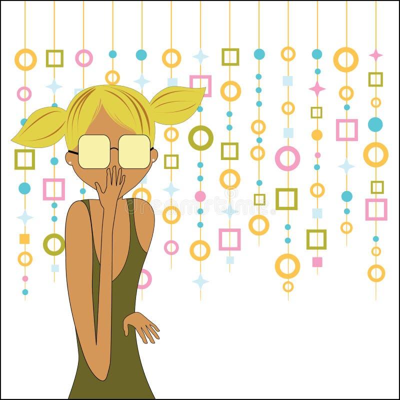 Muchacha de moda con la cortina retra del capiz detrás stock de ilustración