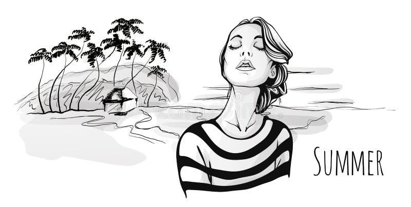 Muchacha de moda joven que camina en la playa tropical con las palmeras Ejemplo a mano del bosquejo del retrato del vector, negro stock de ilustración