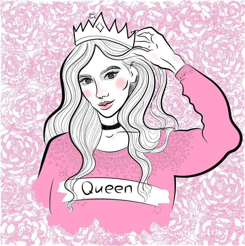 Muchacha de moda moderna en el suéter y la corona, reina, princesa, en el fondo de peonías y de rosas florecientes ilustración del vector