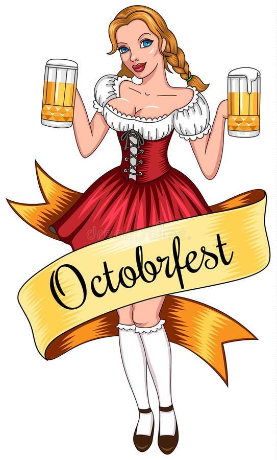 Muchacha de Octoberfest stock de ilustración
