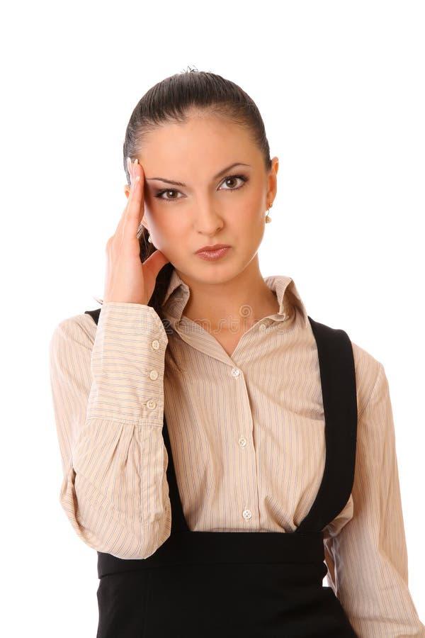 Muchacha de oficina con dolor de cabeza imágenes de archivo libres de regalías