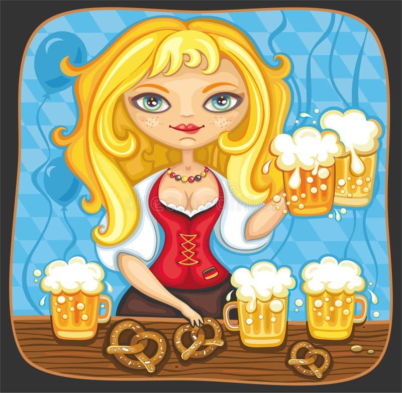 Muchacha de Oktoberfest stock de ilustración