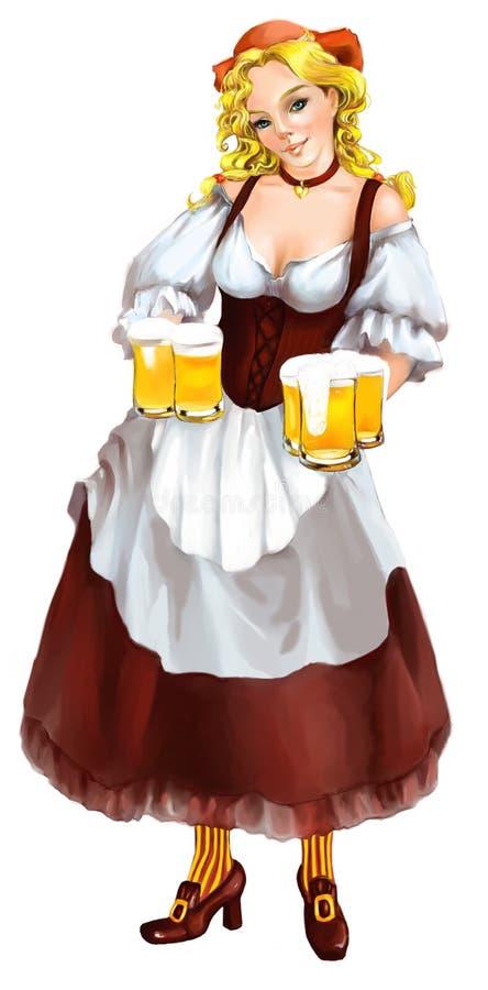 Muchacha de Oktoberfest con las tazas de cerveza stock de ilustración