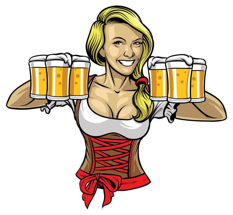 Muchacha de Oktoberfest que sostiene las cervezas stock de ilustración