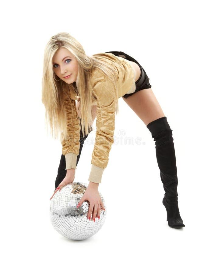 Muchacha de oro de la chaqueta con la bola de discoteca #2 imagen de archivo libre de regalías