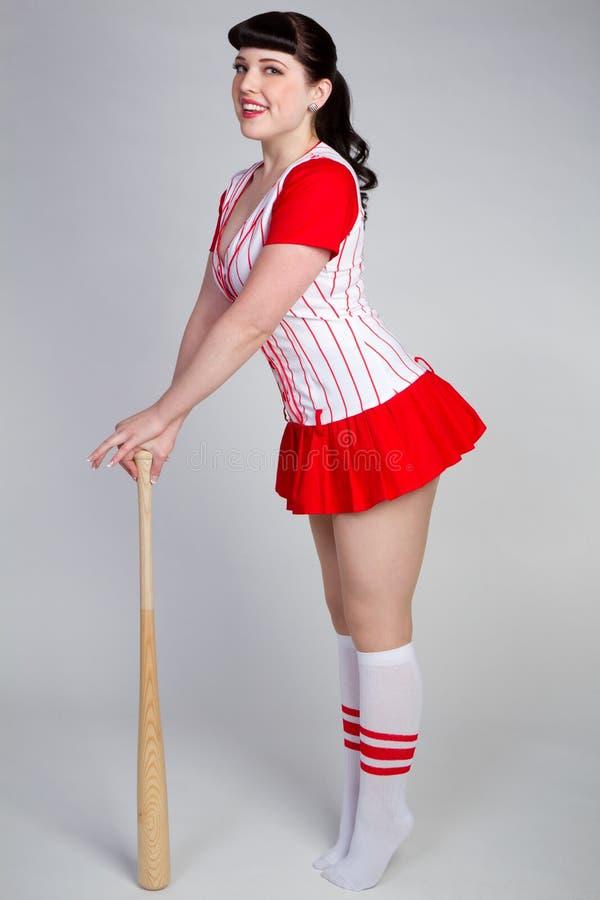Muchacha de Pinup del béisbol fotos de archivo