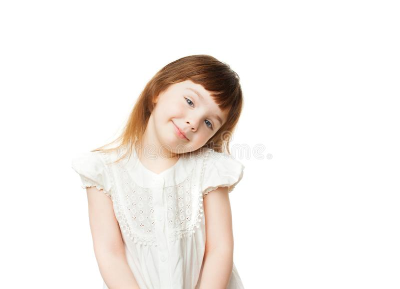 Muchacha de risa 4-5 años en el fondo blanco foto de archivo libre de regalías