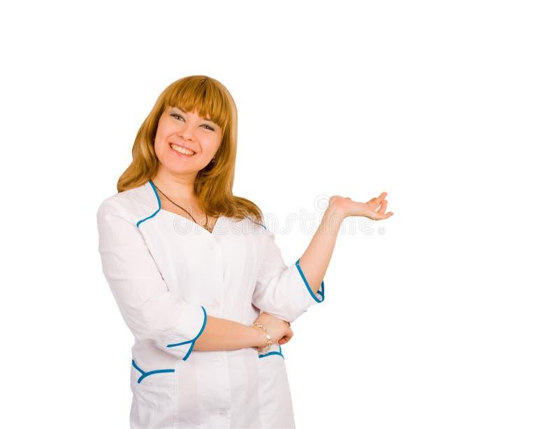 Muchacha de risa sonriente en uniforme de la enfermera foto de archivo libre de regalías