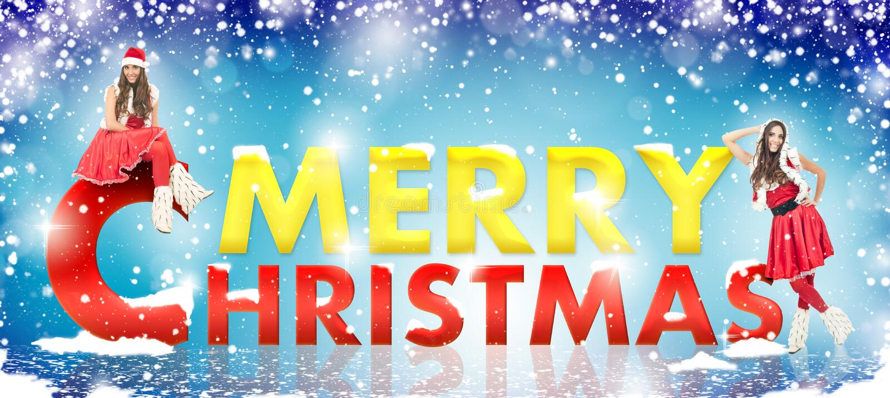 Muchacha de Santa, nieve y feliz texto de los chrsitmas imagen de archivo libre de regalías