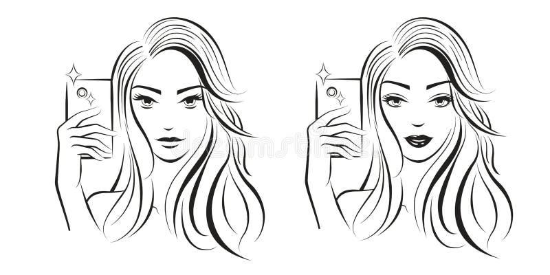 Muchacha de Selfie Limpie la l?nea arte Arte de la fantas?a Arte del concepto Bosquejo y proyecto stock de ilustración