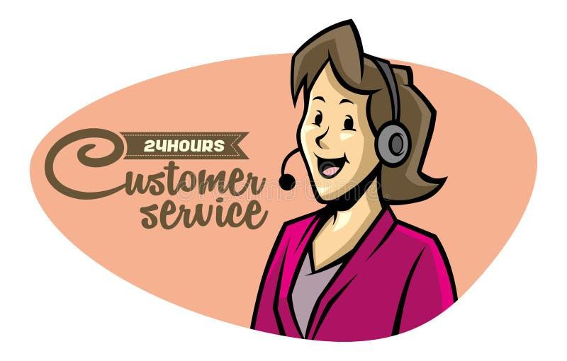 Muchacha de servicio de atención al cliente en el teléfono stock de ilustración