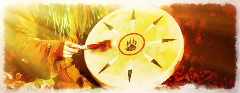 Muchacha de Shamanic con el tambor del marco en fondo abstracto stock de ilustración