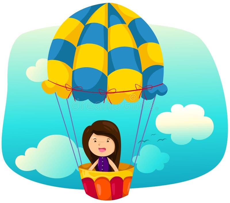 Muchacha de Skyscape que monta el globo del aire caliente stock de ilustración