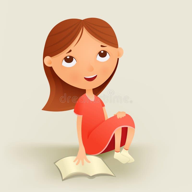 Muchacha de sueño en vestido rojo con el libro de texto stock de ilustración