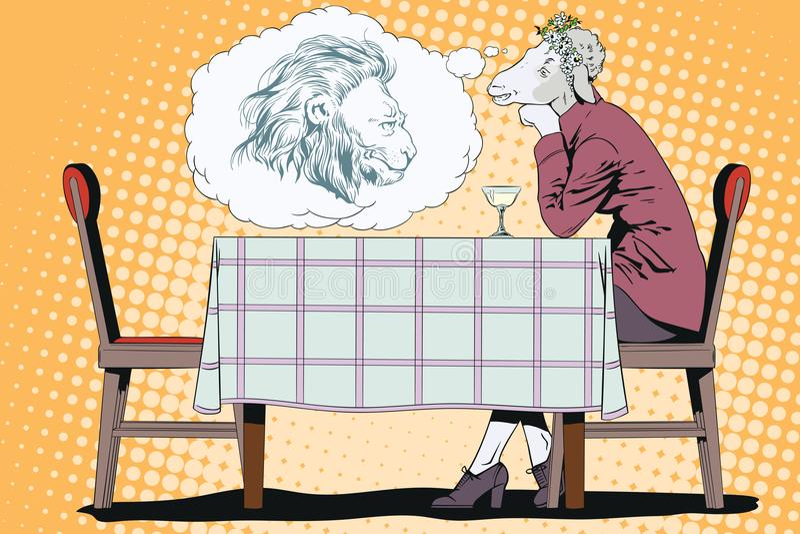 Muchacha de sueño Ovejas románticas Sueños de la mujer de un príncipe Gente stock de ilustración