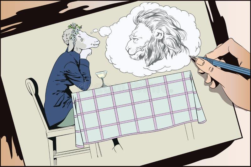 Muchacha de sueño Ovejas románticas Sueños de la mujer de un príncipe Gente libre illustration