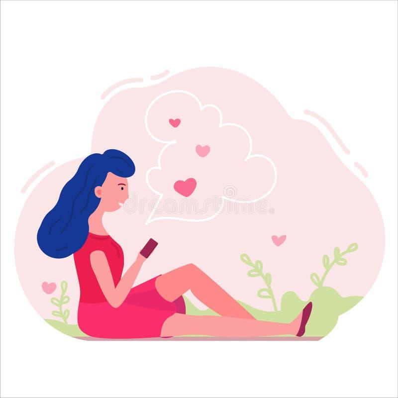 Muchacha de Teanager que lee una letra de amor Vector plano ilustración del vector