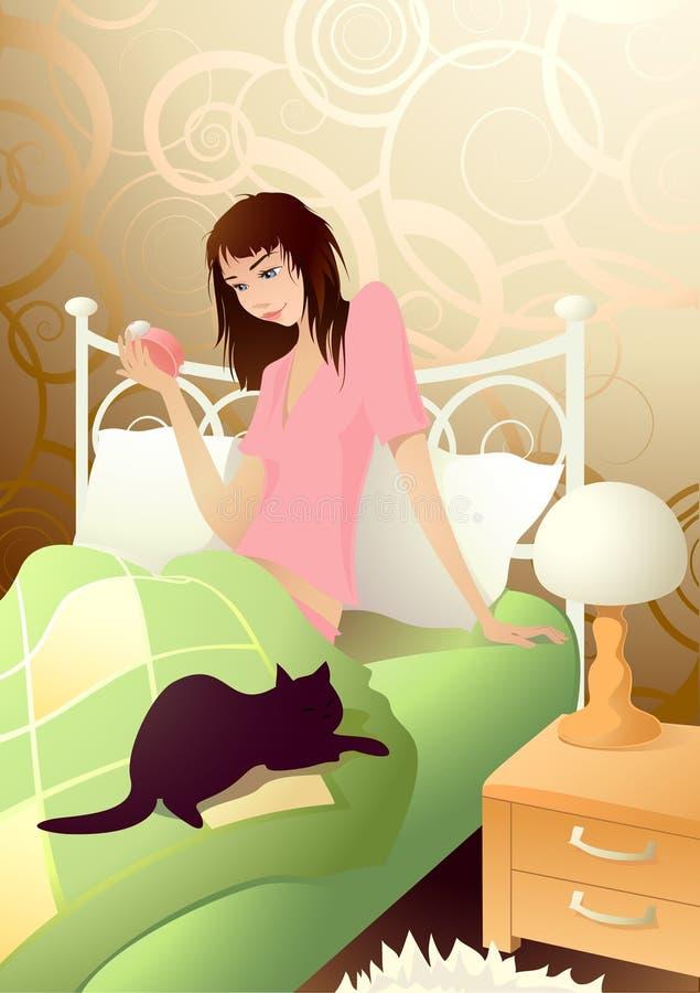 Muchacha de Yiung por la mañana ilustración del vector