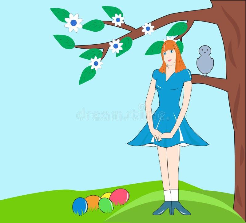 Muchacha debajo del árbol con los huevos de Pascua ilustración del vector