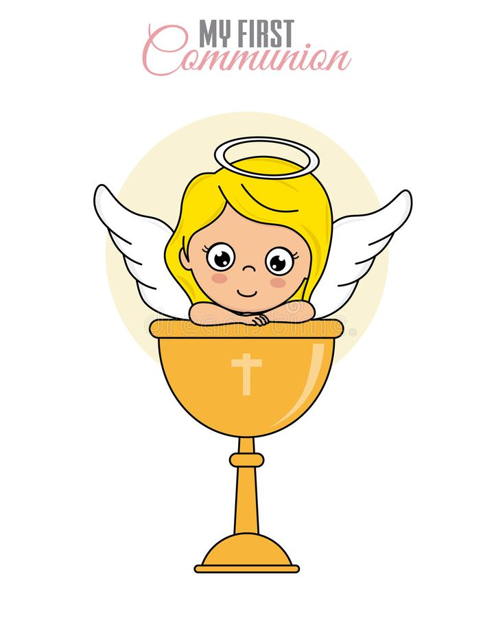 Muchacha del ángel con cáliz ilustración del vector