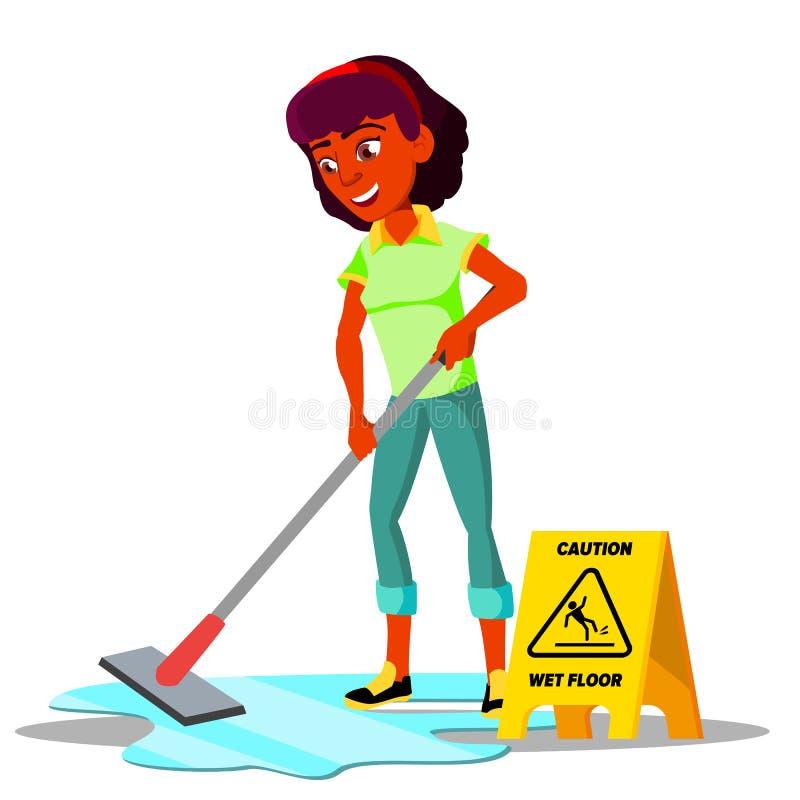 Muchacha del adolescente que limpia el piso del vector plano Ilustración aislada libre illustration