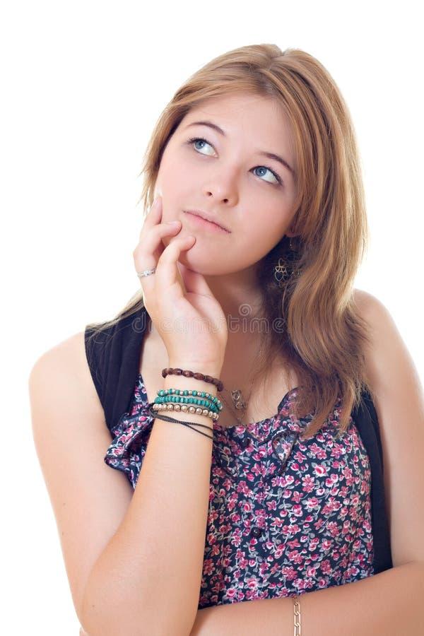 Muchacha del adolescente que mira para arriba fotos de archivo libres de regalías