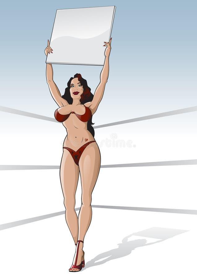 Muchacha Del Anillo De Boxeo Con La Tarjeta En Blanco Fotografía de archivo