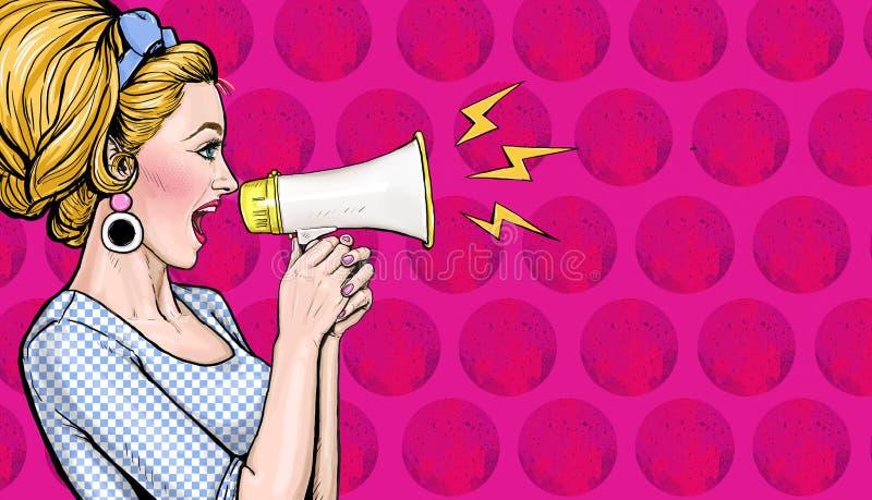 Muchacha del arte pop con el megáfono Mujer con el altavoz Cartel de la publicidad con la señora que anuncia descuento o venta stock de ilustración