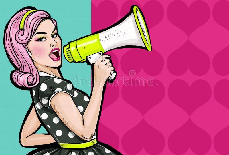 Muchacha del arte pop con el megáfono Mujer con el altavoz Muchacha que anuncia descuento o venta Tiempo de las compras ilustración del vector