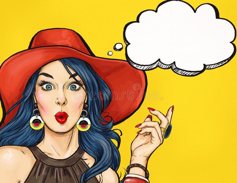 Muchacha del arte pop con la burbuja del pensamiento Invitación del partido Tarjeta de cumpleaños Hollywood, estrella de cine Muj libre illustration
