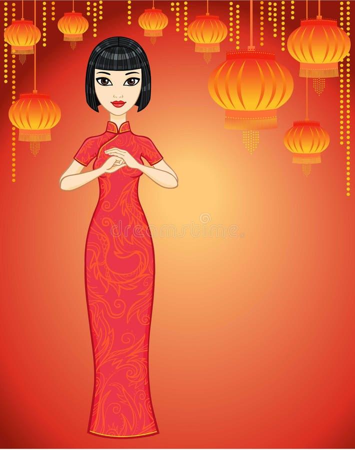 Muchacha del asiático de la animación ilustración del vector