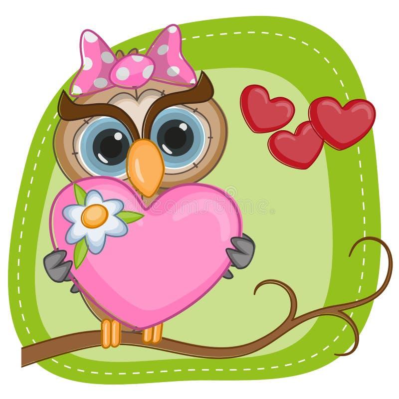 Muchacha del búho con el corazón stock de ilustración