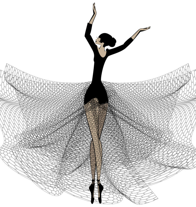 Muchacha del ballet en negro ilustración del vector
