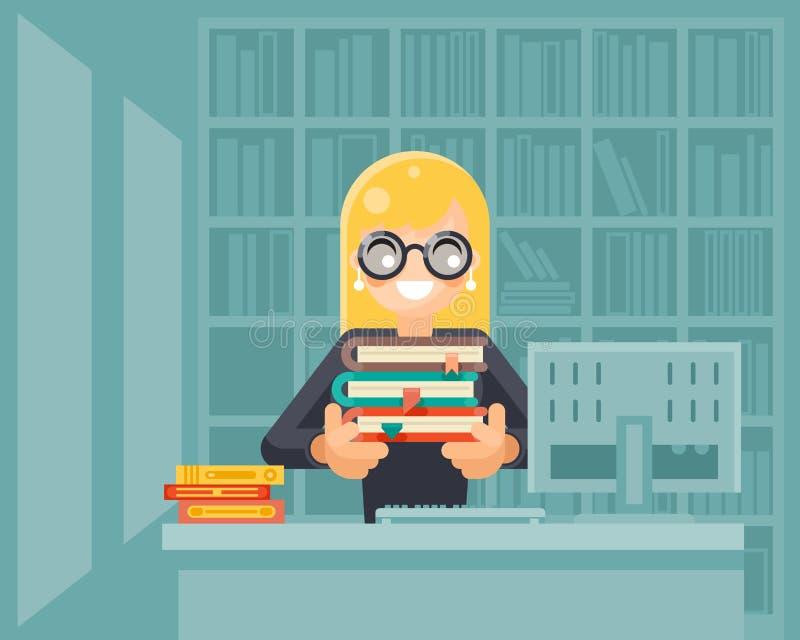 Muchacha del bibliotecario que lleva a cabo la educación del conocimiento de la biblioteca del libro que aprende el ejemplo plano ilustración del vector