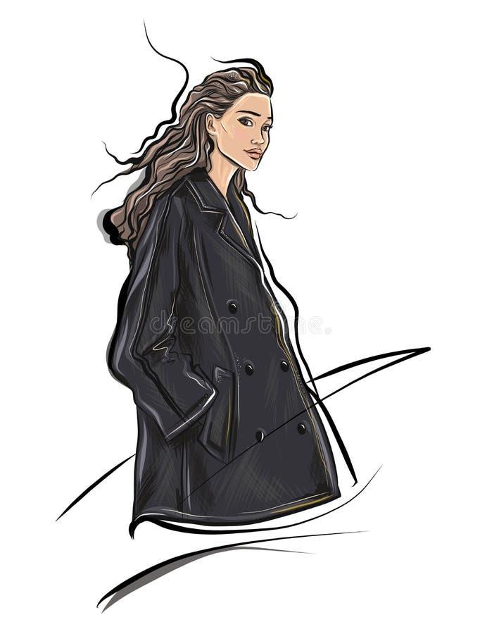 Muchacha del bosquejo de la moda que lleva la chaqueta elegante del diseñador libre illustration