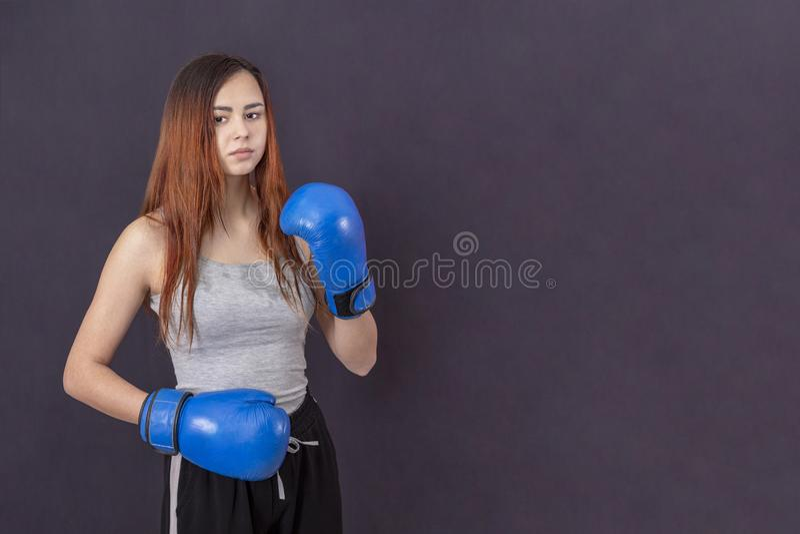 Muchacha del boxeador en guantes de boxeo azules en una camiseta gris en el estante en un fondo gris imagenes de archivo
