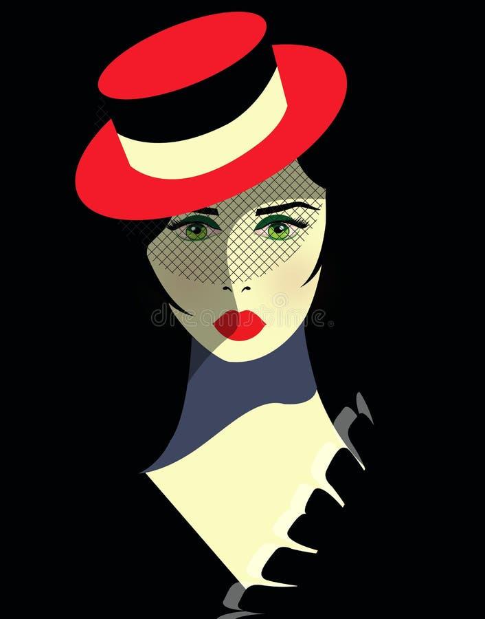 Muchacha del cabaret con el sombrero rojo stock de ilustración