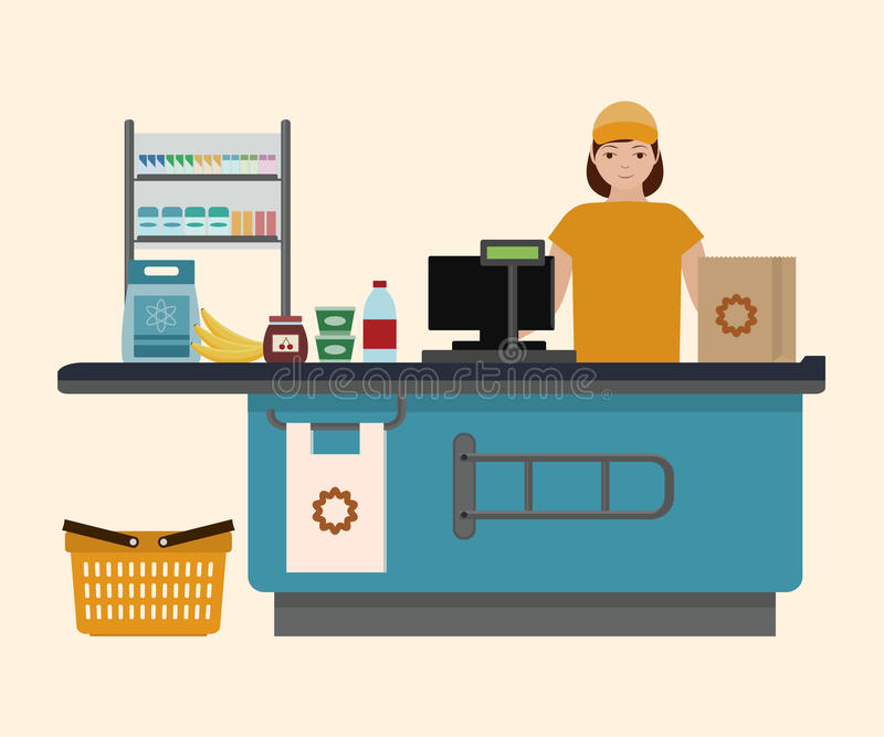 Muchacha del cajero en el supermercado ilustración del vector