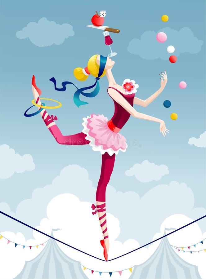Muchacha del circo stock de ilustración