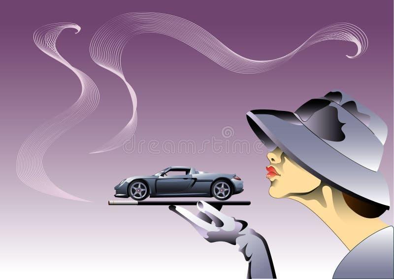 Muchacha del coche stock de ilustración