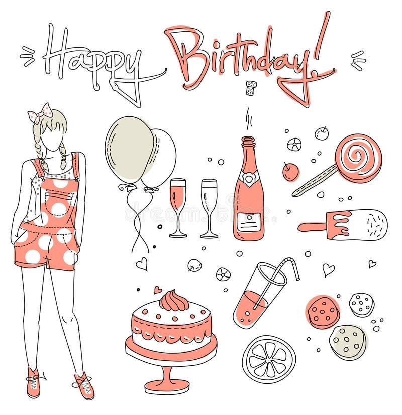 Muchacha del cumpleaños ilustración del vector