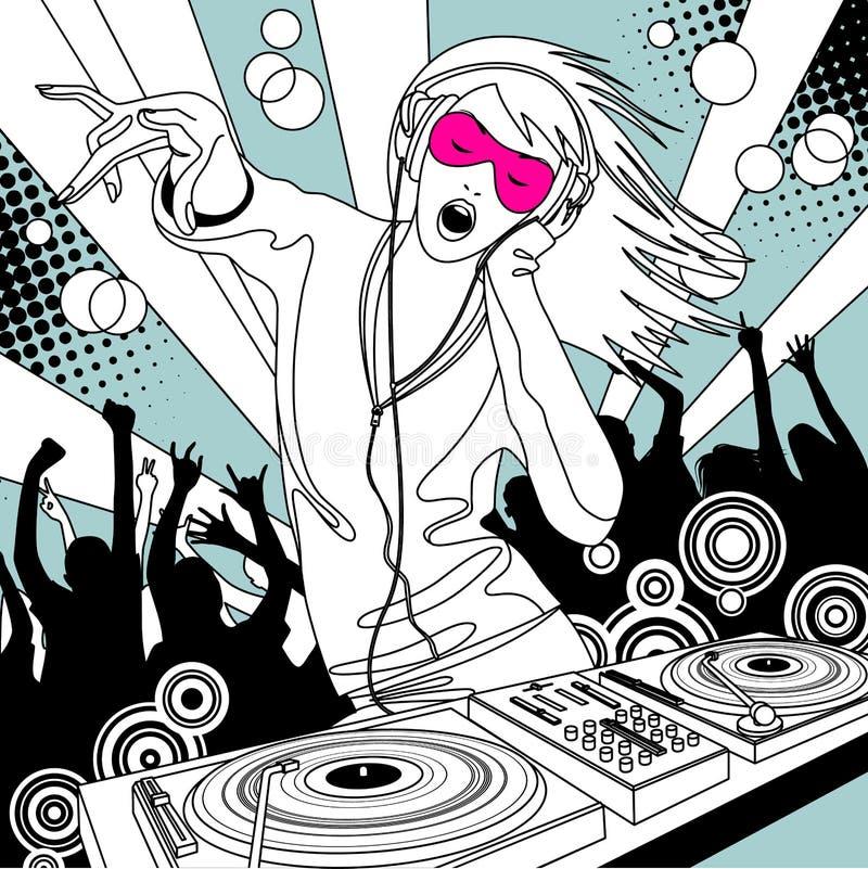 Muchacha del disc jockey con un mezclador de DJ y gente que baila en un partido ilustración del vector