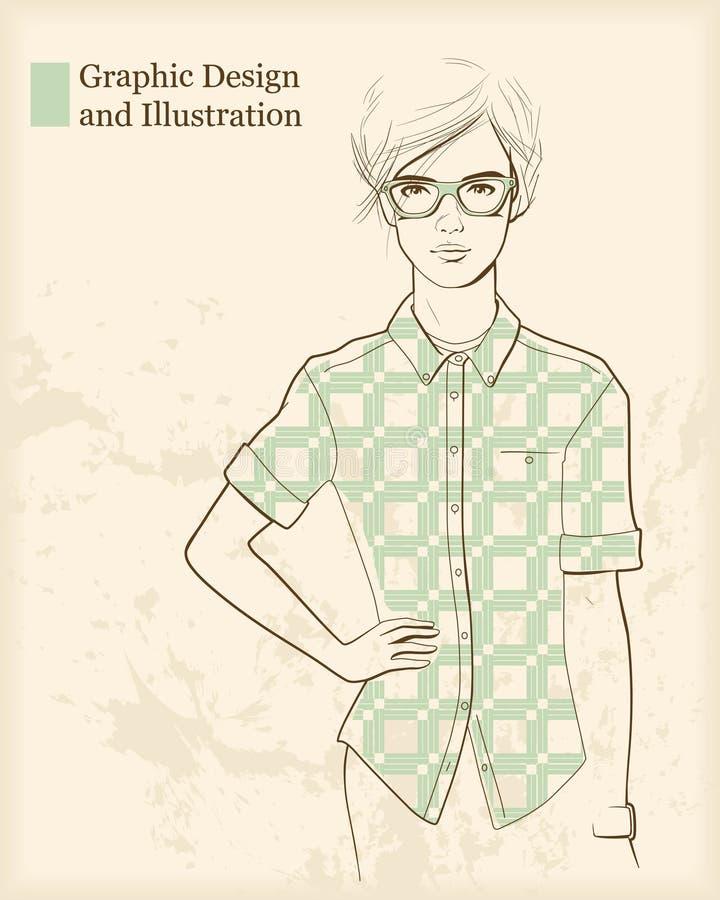 Muchacha del diseñador ilustración del vector