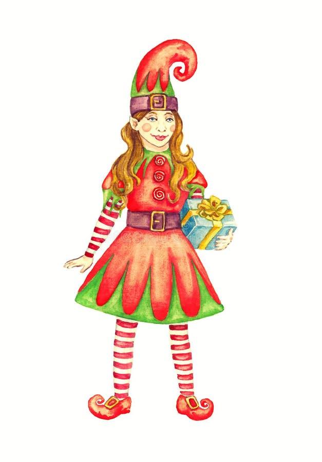 Muchacha del duende de la Navidad en traje brillante con la caja larga del sombrero y de regalo en las manos, aisladas en blanco ilustración del vector
