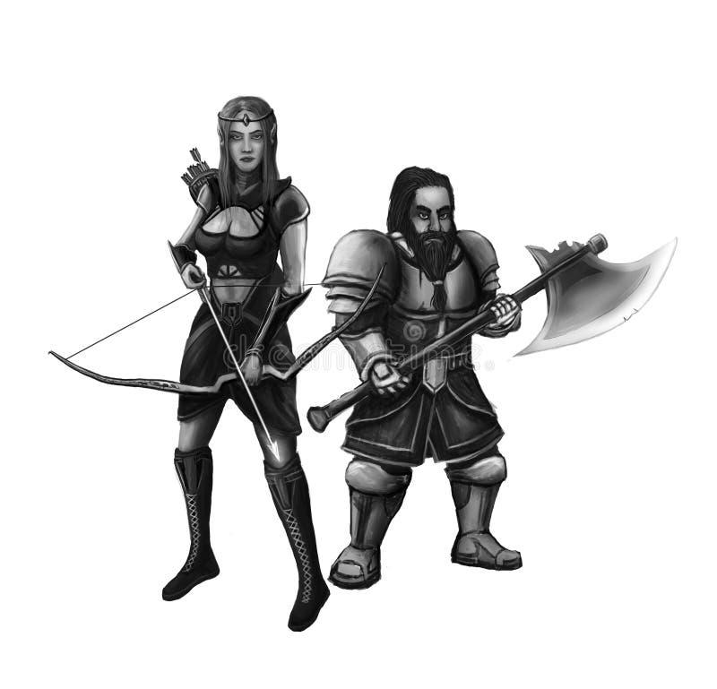 Muchacha del duende y el pequeño guerrero enano ilustración del vector