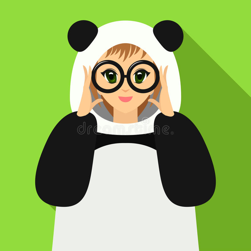 Muchacha del ejemplo del vector en el traje de la panda que sostiene las lentes libre illustration